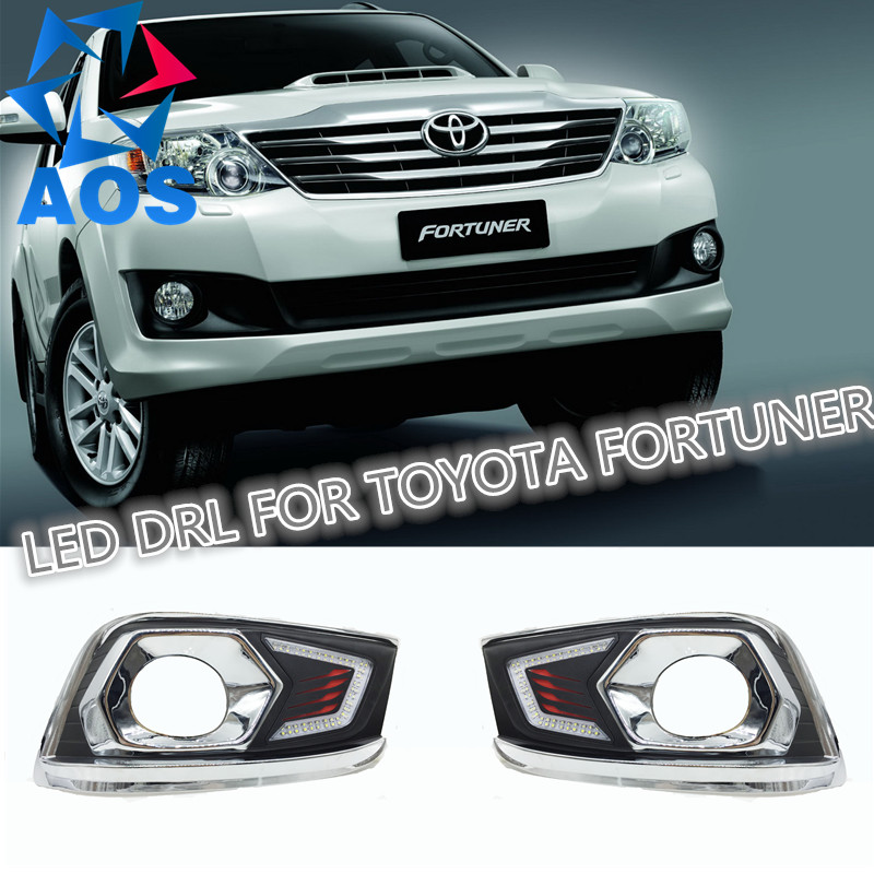 2PCs/set Waterproof LED DRL Daytime Running Lights Daylight For Toyota Fortuner 2012 2013 2014