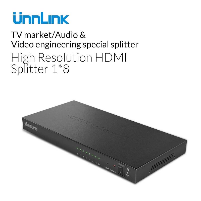 Unnlink 1080 p HD HDMI Splitter 8 Ports Hub Boîte Auto Switch 1 En 8 Sur Commutateur avec Power Adapter