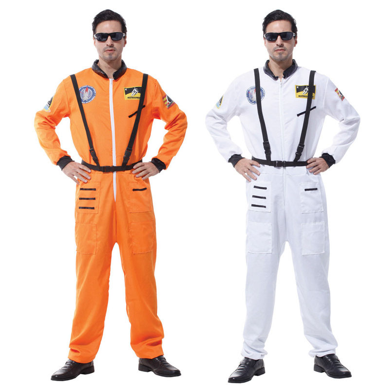 Umorden Purim Carnival Party Halloween Costumes Adult Men Cosmic Astronaut Cosmonaut Costume Uniform Orange White Pilot Cosplay