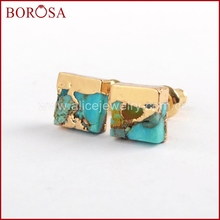 BOROSA 5/10Pairs Gold Color 7mm Square Copper Natural Turquoises Stud Earrings Blue Stone for Women G1648