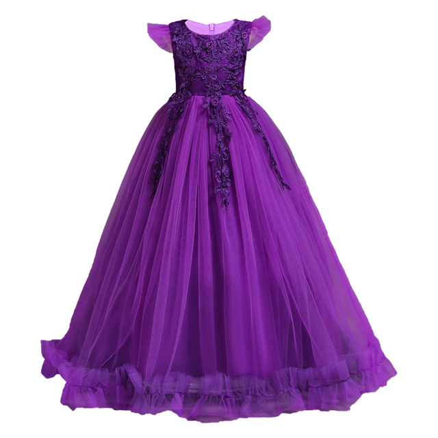 2019 New Kids Girls Wedding Flower Girl Dress Princess Party Pageant Formal Dress Sleeveless Dress 3-14 year wear