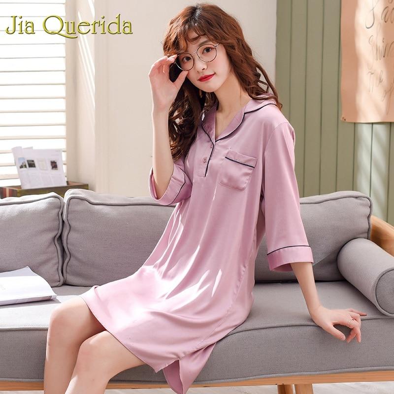 J&Q2019Summer New Women Nightgowns&sleepshirts Satin Silk Solid Lapel Fashion Nighty Plus Size M-3XL Sleep Dress Women Nightwear