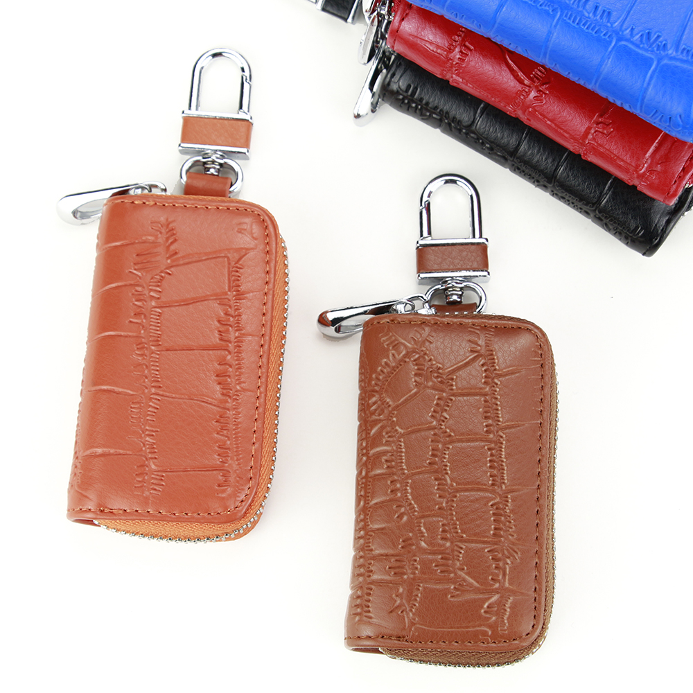 Multifunction Key Bag Alligator Pattern Leather Key Wallet Useful Zipper Car Key Case Portable Hook Key Holder