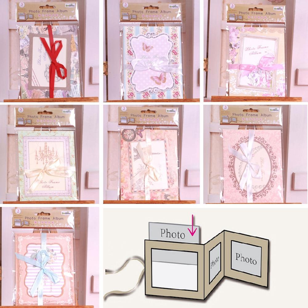 Eno Greeting pocket picture frame with ribbon european folding mini ...