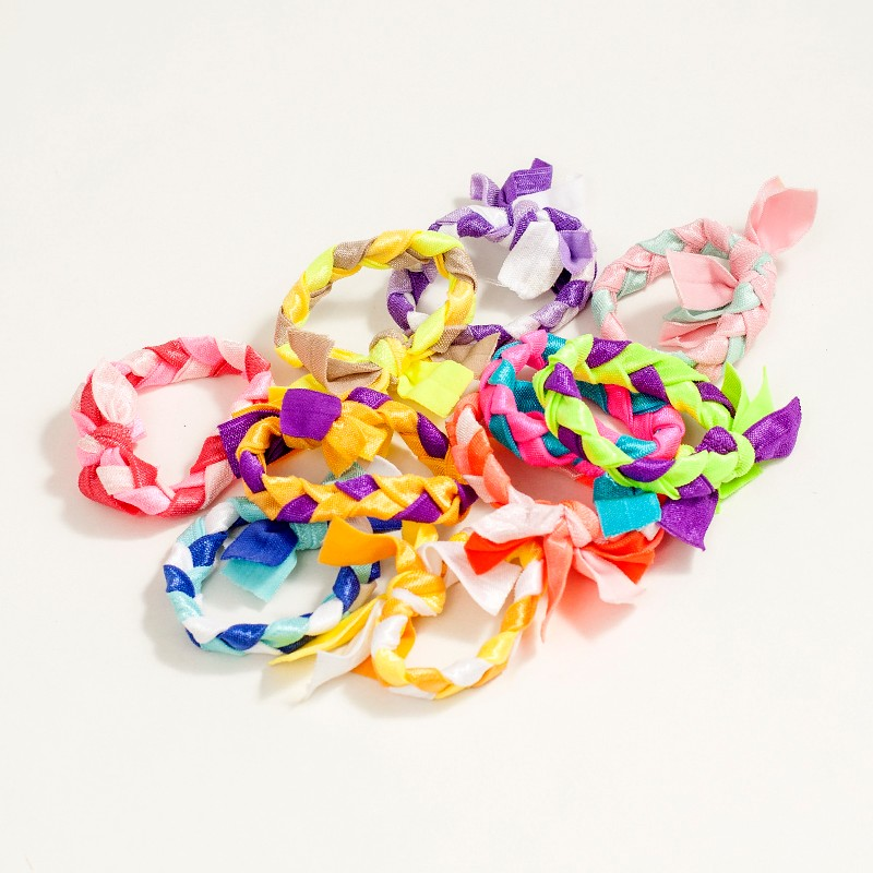 500 pcs lot 25 color packaging Braids plaits Hairband Rope Ponytail Holder Emi Jay Like Hair