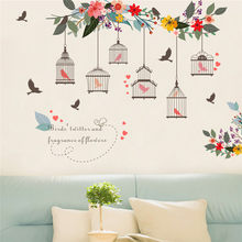 Birdcage Flower Decorative Wall Stickers Birdhouse Decals Removable Art Wall Stickers home decor Tree Kid Room Bedroom Wallpaper(China)