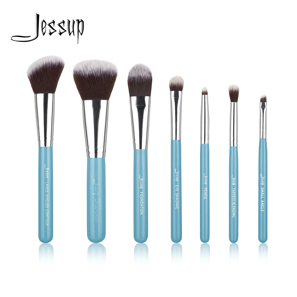 Jessup Brand Blue 7pcs Professional Makeup brush set Beauty Cosmetic Kit Eyeshadow Foundation blusher Make up brushes Tools 7pcs rainbow makeup brushes set cosmetic foundation eyeshadow blusher powder blending smooth brush cosmetic tools make up