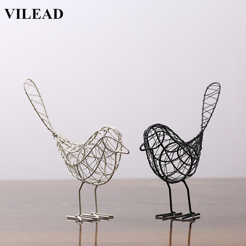 VILEAD 9'' Iron Bird Figurines 2 Colors Abstract Bird Miniatures Vintage Animal Figurine Home Decoration Creative Gift Souvenirs