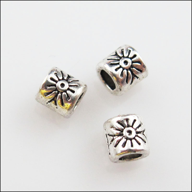 5 New Charms Round Flower Flat Spacer Beads 17mm Tibetan Silver