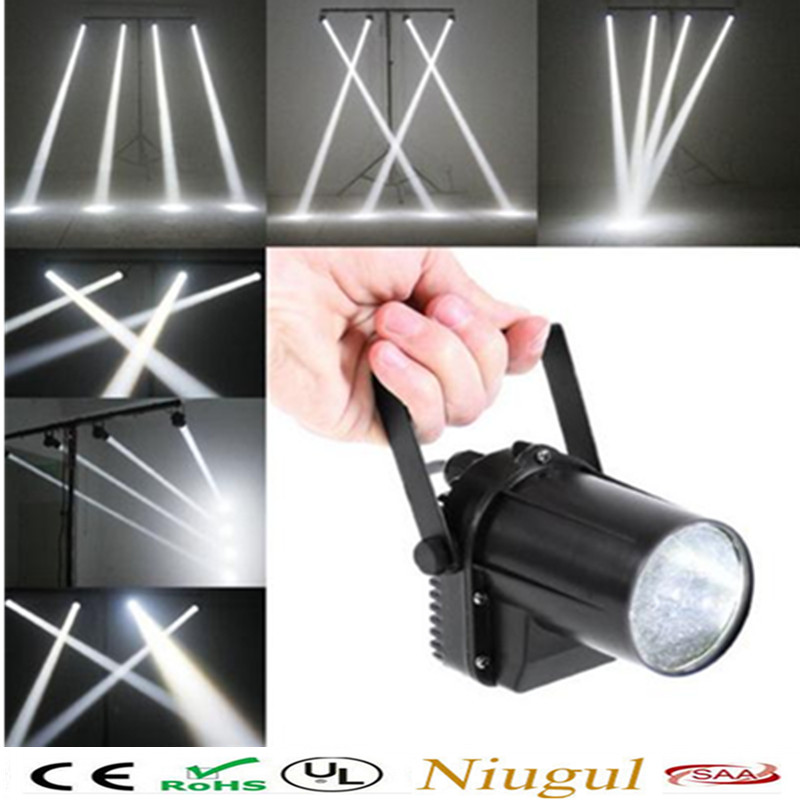 Free shipping White color DJ lighting LED Pinspot DJ Spot Beam Laser Projector Light Stage Party  Effect for Disco dj ktv light rg mini 3 lens 24 patterns led laser projector stage lighting effect 3w blue for dj disco party club laser