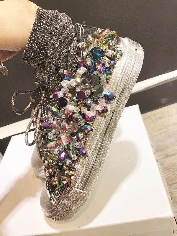Femmes strass toile chaussures à la main personnalisé en trois dimensions paillettes mode créative baskets décontracté WK101