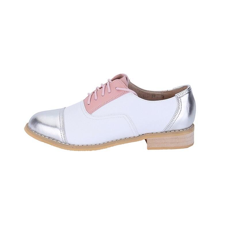 La Femme Pour À golden Véritable Des Plus Marque Oxford Pink Blue Taille Richelieu Chaussures Cuir En Silver Femmes Main Vintage Plat gtcqXS