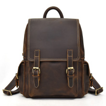 Crazy horse genuine leather men backpack laptop business bag vintage cow leather travel backpack men daypack school bags backpack europe men s cow leather large capacity backpack retro crazy horse leather travel bag leisure backpack