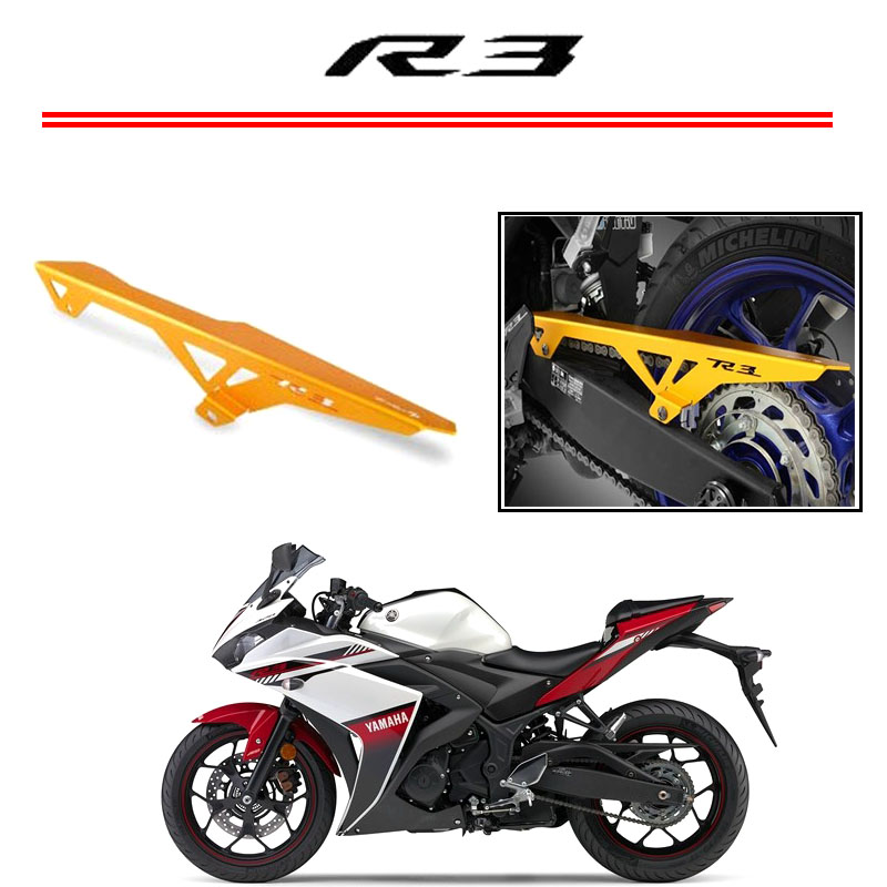 For Yamaha YZF R3 YZF R25 2014-2015 Motorcycle CNC Aluminum Chain Guards Cover Protector gold yzf r3 yzf r25 cnc aluminum adjustable shift lever for yamaha yzf r3 2014 2015
