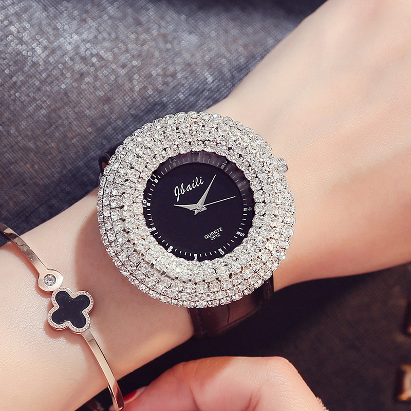 New Fashion Brand Jbaili Watch Big Rhinestone Black Dial Quartz Wristwatches Analog 4 Colors Women's Watches Leather Band Strap fashion vintage big number magic leather strap quartz analog wristwatches watch for women ladies girls black brown blue