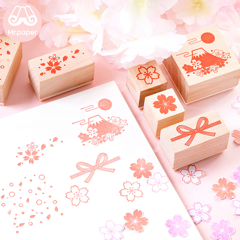 Mr Paper 5 Designs Pink Sakura Cherry Blossom Wooden Rubber Stamps For Scrapbooking Decoration DIY Craft Standard Wooden Stamps