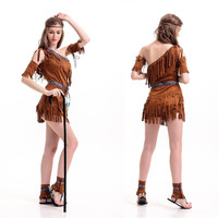 Ladies Indian Native American Costume Womens Adult Red
