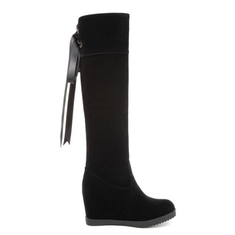 Kemekiss Tacón Interior 43 Moda Mujer Invierno Cuña De Nuevos Caliente Talón Alto Piel Zapatos Botas Tamaño Mujeres Negro 32 6TqExwYr6