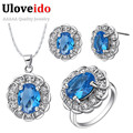 Uloveido Wholesale Red/Green/Purple/Blue Crystal Silver Plated Wedding Jewelry Sets Earrings Necklace Ring Jewellery Set T538
