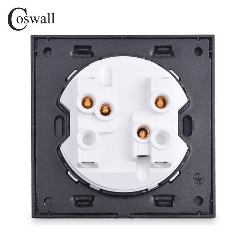Coswall 2 Gang لحظة الاتصال التبديل نبض التبديل الجدار مفتاح بـزر دفع ستارة كهربائية التبديل ل الأسطوانة مصراع أسود الألومنيوم لوحة معدنية