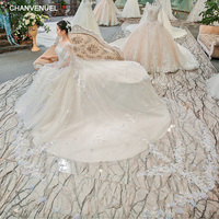 LSGT902 wedding dress lace o neck sleeveless lace up backless flowers beading cathedral train ball gown casamento real photos