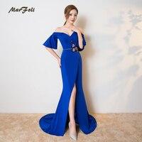 Marfoli Mermaid beading off the shoulder Evening Dresses Sexy Trumpet Deep V Back Elegant Full Length Prom banquet zipper Dress