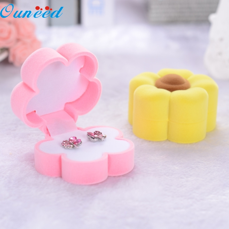 Ouneed Happy Home Sunflower Shape Lovely Earrings Ring Velvet Gift Box Jewelry Necklace Case 1 Piece кашпо gift n home сирень