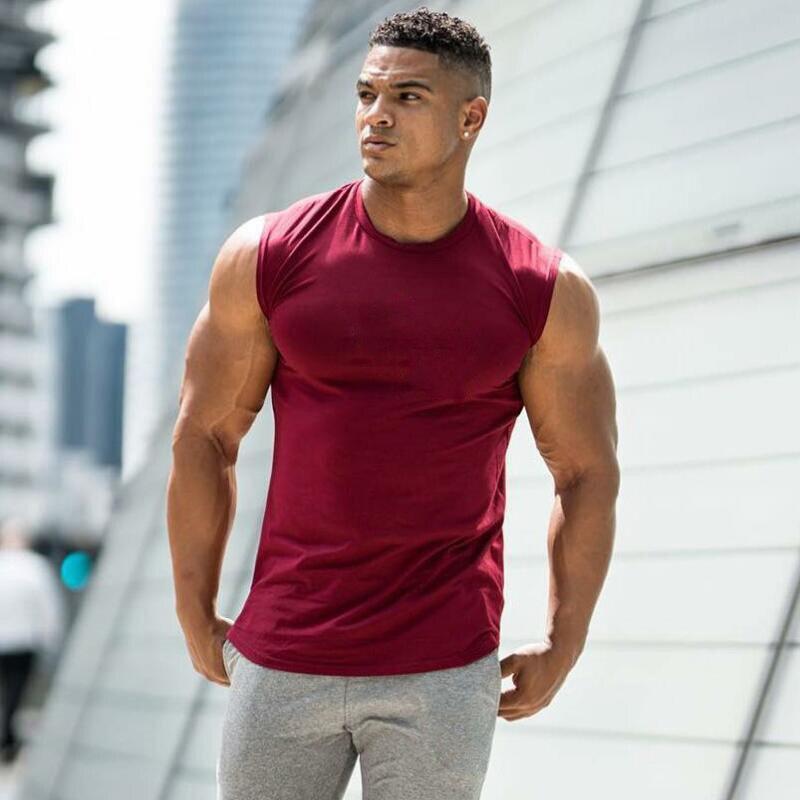 2019 Summer Newest Brand Mens Curved Hem Solid Color Gyms Stringers Vest Bodybuilding Clothing Fitness Man Tanks Tops