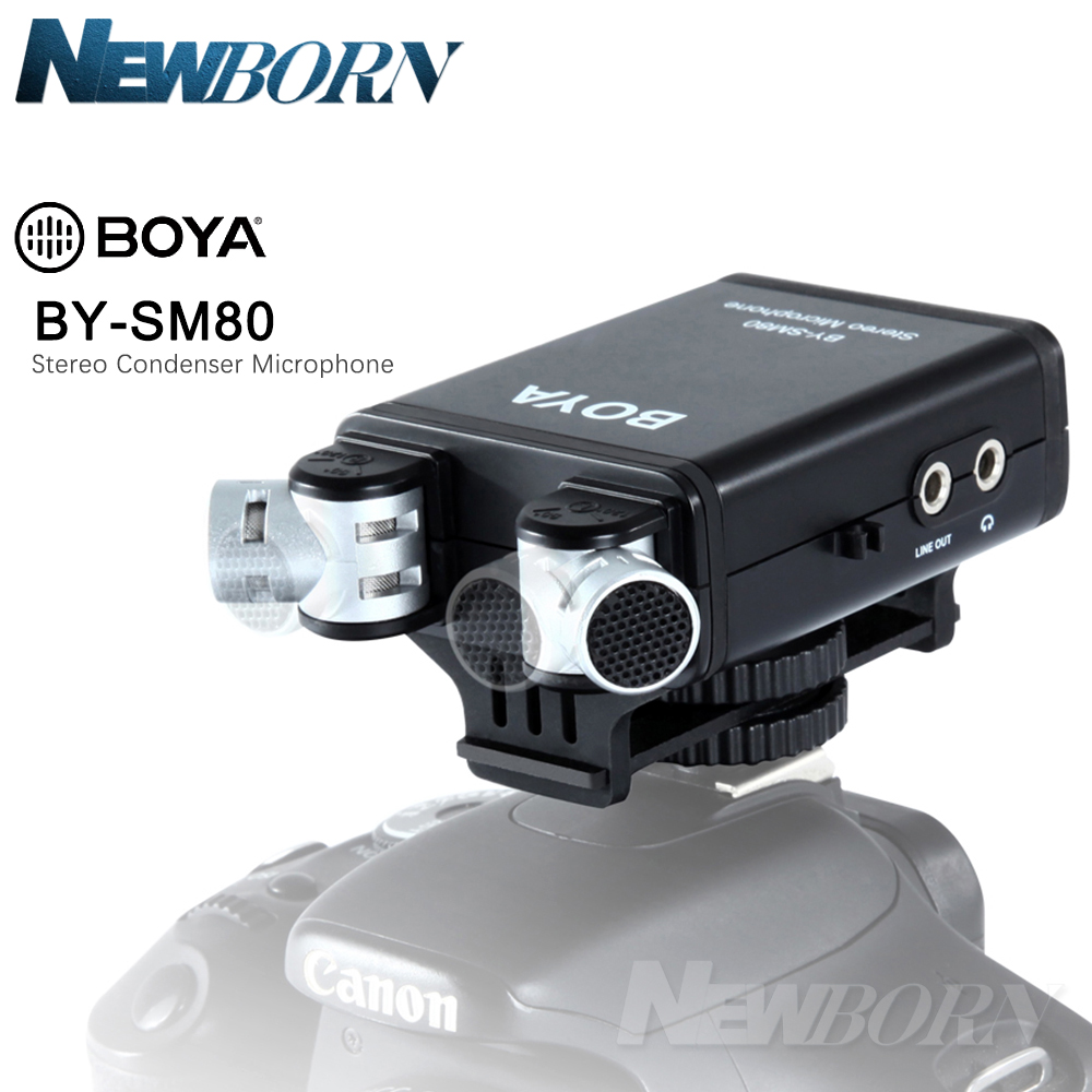BOYA BY SM80 Bi directional Stereo Video Microphone with Windshield for Canon Nikon Pentax DSLR Camera