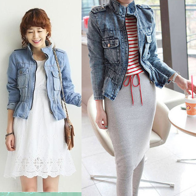 S M L XL Light blue vintage denim jackets for women spring jeans outerwear female 2015 wholesale retail