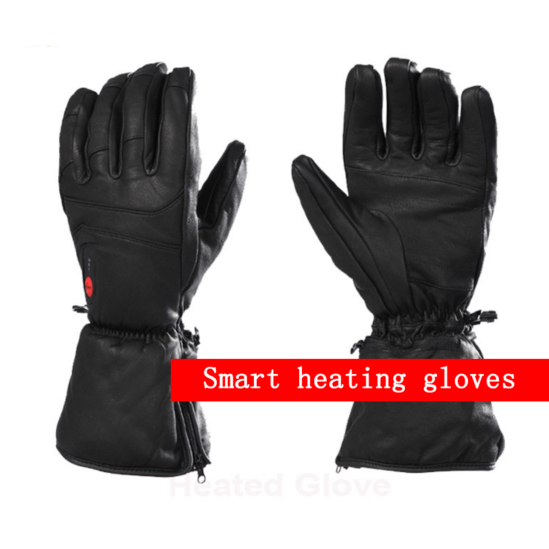 NEW heating gloves with battery winter ski gloves full leather thick gloves Sheep skin black7.4 v 2200 mah rechargeable lithium new mens leather waterproof screen gloves mittens for male winter windproof ski super driving warm proctive gloves