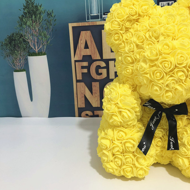 Wedding Customized Gift Multicolor Valentines Gift 40cm PE Yellow Rose Bear for Girlfriend Gift Anniversary Gift free shipping 3