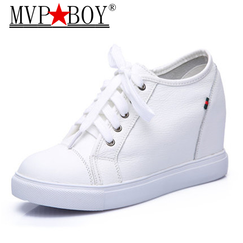 MVP BOY Fashion women genuine leather shoes Height increasing Shoes woman leather cowhide Lace up black white Eu 35 40