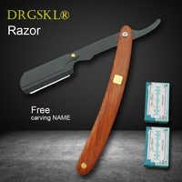 NOVO manual de redwood handle shaver lâminas de barbear lâmina de barbear para homens navalha de corte de Cabelo barbeiro profissional mudar tipo de lâmina de faca de barbear