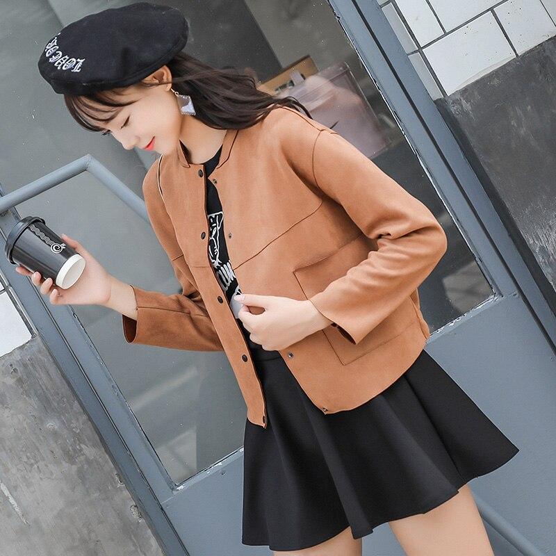 Women Faux   Suede   Spring Autumn Women Jacket 2019 Vintage Slim Plus Size   Leather     Suede   Jacket Lady Coat Crop Top