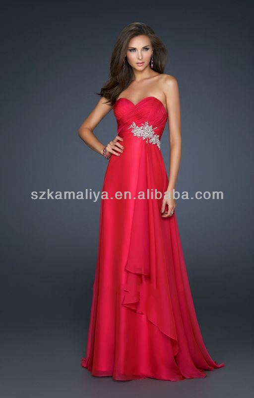 Simple But Elegant Sweetheart A Line Floor Length Red Chiffon Beaded