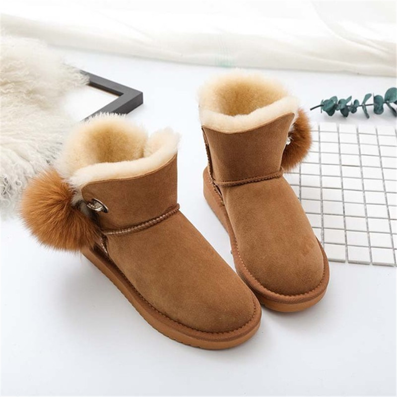 2018 New Fashion Women Snow Boots Real Wool Winter Warm Boots Genuine Sheepskin Leather Natural Fur Non-Slip Women Boots coolsa new 100% natural fur women boots genuine sheepskin ankle boots winter boots warm wool snow boots women slip on flat shoes