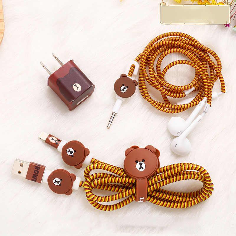 Nuevo Cable enrollador Diy Set TPU espiral USB cargador Cable protector de auriculares Protección de Cable para iPhone 5 y 5s 6 7 8 cargador pegatinas