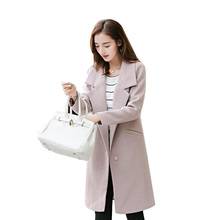 Donna 2017 Winter Women Long Wool Coat Lapel Turn-Down Collar Covered Button Ladies Fashion Blends Woolen Coats Outerwear W30S