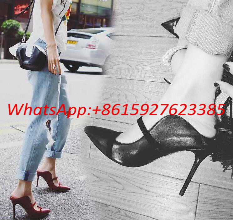 02f56c39bbd Choudory Double Straps Slip On Pumps Suede Pointy Toe Mules Spring Womens  Shoes Slingback High Heel Celebrity Shoes For Lady-in Women s Pumps from  Shoes on ...