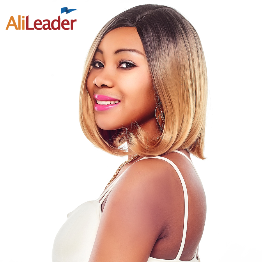 AliLeader Straight Bobo Wigs Ombre Green Purple Silver Gray Brown Blonde Wig Synthetic Short Cut Wig For Black/White Women