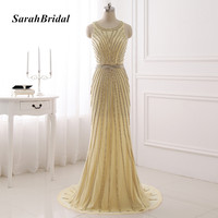 Real Photo Formal Evening Gowns Dresses Sparkly Prom Dresses See Through Tulle Designer Gowns Party Robe