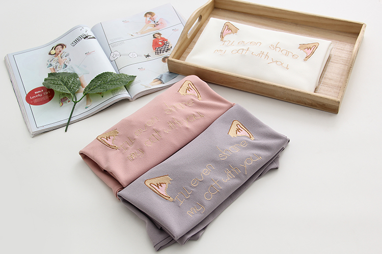 2018 Summer Women Printed Harajuku Cartoon Cat T Shirts Letter Embroidery Cotton Short Sleeve Casual Tee Ladies Hot Top DX619 11
