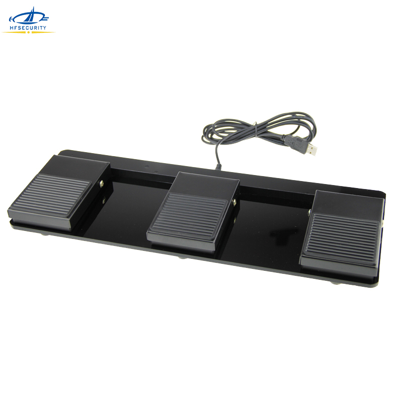 HFSECURITY Triple Metal Foot Switch Pedal Usb Game Foot Keyboard Wired Non Slip Metal Momentary Electric