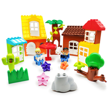 Original Big Building Blocks Bricks tree flower grass door roof Accessory children DIY Toys Compatible with Duplo city set gift big particles model building blocks forest paradise house sets children toys diy city bricks compatible with duplo birthday gift