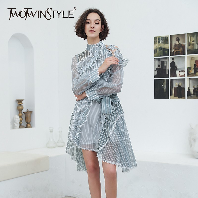 TWOTWINSTYLE Striped Dress Female Ruffle Mesh Patchwork Off Shoulder Lantern Sleeve Asymmetrical Sexy Dresses 2019 Autumn