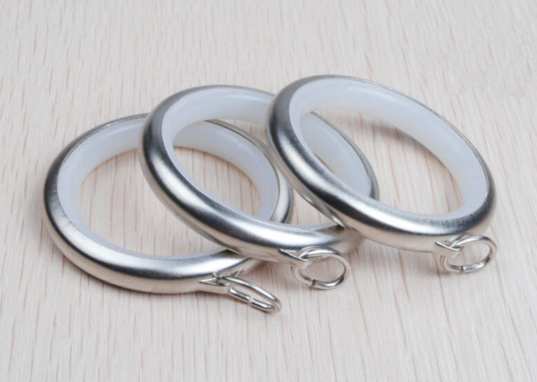 20 Pieces Household Round Silver Shower Sliding Curtain Hooks Rings Noise Reduction Rings