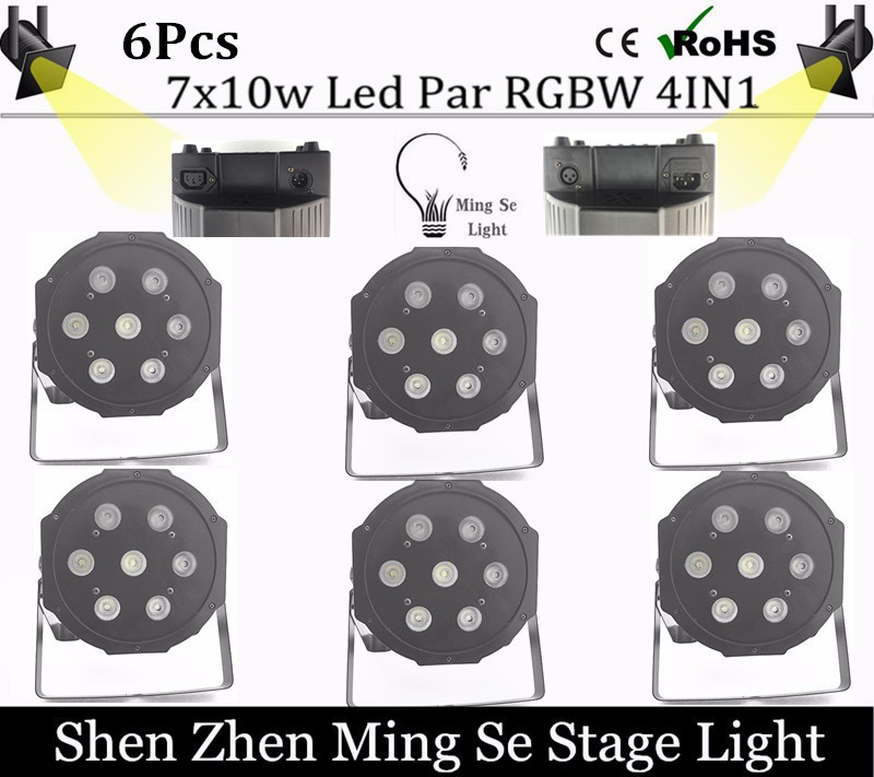 ФОТО 6pcs / lots  7x10W led Par lights RGBW 4in1 flat par led dmx512 disco lights professional stage dj equipment