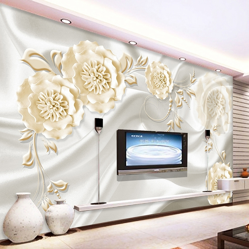 Custom Wall Painting Wallpaper Modern 3D Embossed Non-woven Silk Rose Flower Vine Murals Living Room Sofa TV Backdrop Wallpaper