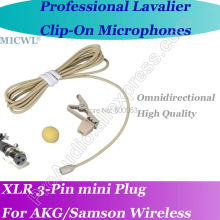 MICWL Beige Omni- Directivity Microfone Lavalier para Lapel Microphone for AKG Samson Gemini Wireless XLR Mini 3-Pin micwl me2 pro microfone lavalier para lapel microphone for akg samson gemini wireless xlr mini 3 pin